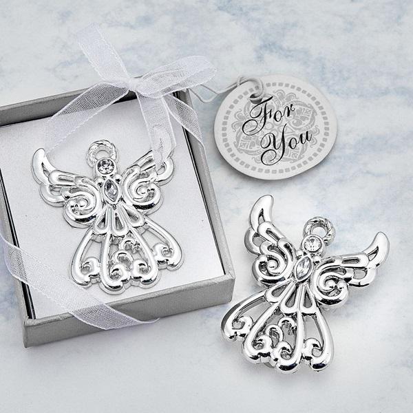 FashionCraft Guardian Angel Figurine Silver-Finish Solid-Metal Pin