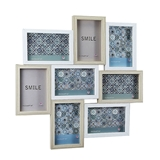 FashionCraft Sandy White and Natural Wood Frame Collage - 8 Openings