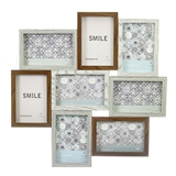 FashionCraft Dark with Light Wood Puzzle Collage Frame - 8 Openings