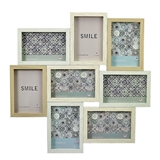 FashionCraft Light with White Wood Puzzle Collage Frame - 8 Openings