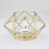 Gold-Metal Hexagon Geometric Design Tealight/Votive Candle Holder