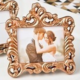 Antiqued Rose Gold Finish Baroque-Style Picture Frame/Placecard Holder