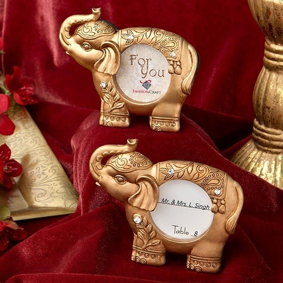 Good Luck Golden Elephant-Shaped Picture Frame/Place Card Holder