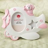 Pink Airplane Design Photo Frame with Adorable Teddy Bear Decoration