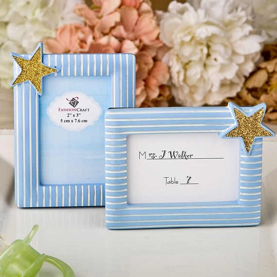 FashionCraft Blue and White-Striped Gold Star Frame/Place Card Holder
