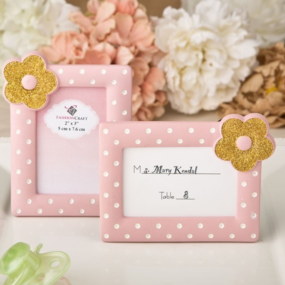 FashionCraft Pink & White Dots with Gold Flower Frame/Placecard Holder