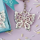 FashionCraft Beautiful Silver-Metal Butterfly Design Key Chain