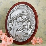Madonna and Child Oval Wood Plaque by FashionCraft
