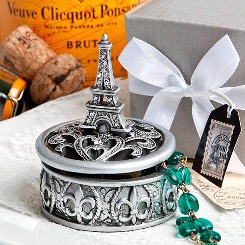 FashionCraft Eiffel Tower Design Curio Box with Fleur de Lis Pattern