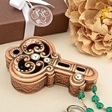FashionCraft Copper-Colored Vintage-Look Key-Shaped Trinket Box
