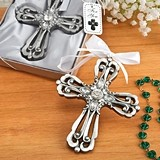 FashionCraft Cross Ornament with Antique-Silver Finish and Rhinestones