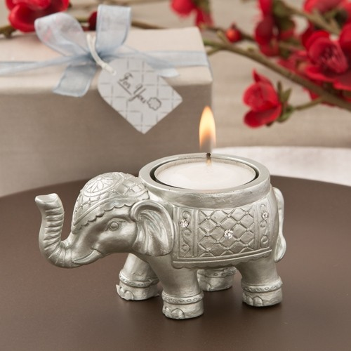 FashionCraft Good Luck Silver Indian Elephant Candle Holder