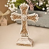 Beautiful Antiqued-Ivory-Colored Cross Statue w/ Matte Gold Detailing