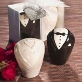 FashionCraft Stylish Ceramic Bride and Groom Salt and Pepper Shakers