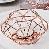 FashionCraft Rose Gold Metal Geometric Design Tealight Candle Holder