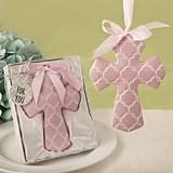 FashionCraft Pink Hampton Link Design Cross Ornament