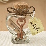 Glass Heart-Shaped Message Jar with Copper-Colored-Metal Key Accent