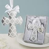 FashionCraft Silver-Colored Hampton Link Design Cross Ornament