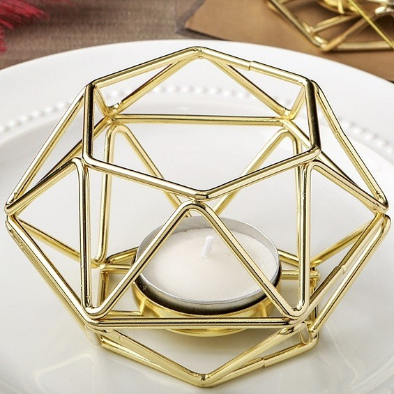Gold Colored Metal Hexagon Shaped Geometric Design