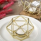 Gold-Colored-Metal Hexagon-Shaped Geometric Design Tealight Holder