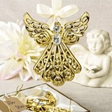 FashionCraft Magnificent Gold-Colored Angel Ornament with Rhinestones