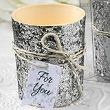 FashionCraft Silver Beaded Glitter Bling Votive Holder with Candle