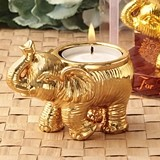 FashionCraft Good Fortune Design Golden Elephant Candle Holder