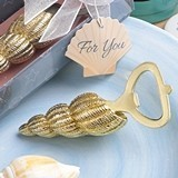 FashionCraft Gold-Colored Conch Seashell Design Bottle Opener
