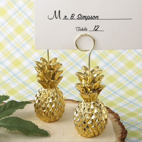 Warm Welcome Collection Gold-Tone Pineapple Place Card Holder