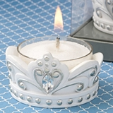 FashionCraft Elegant White Crown with Silver Accents Tealight Candle