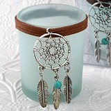 FashionCraft Pale Blue Candle Holder with Metal Dream Catcher Charm