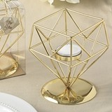 FashionCraft Gold-Metal Geometric Design Tealight/Votive Candle Holder