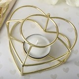 FashionCraft Love-Themed Gold-Metal Wire Tealight Candle Holder