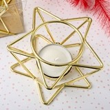 FashionCraft Celestial Star-Shaped Gold-Metal Wire Tealight Holder