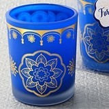 Blue Frosted-Glass Votive Candle with Moroccan Printed Gold Design