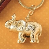 FashionCraft Gold-Finish-Metal 3D Good Luck Elephant Key Chain