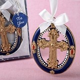 FashionCraft Gold Cross Design Ornament with Rich Royal Blue Border
