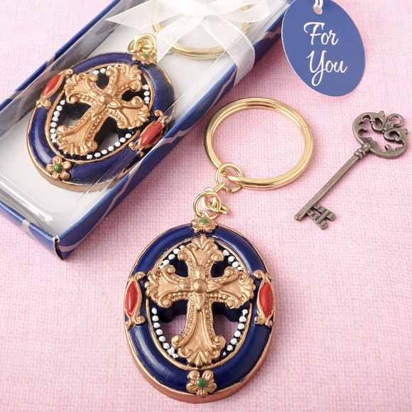 FashionCraft Gold Cross Themed Keychain with Rich Royal Blue Border