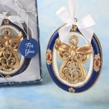 FashionCraft Gold Guardian Angel Theme Ornament with Royal Blue Border