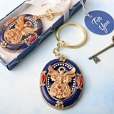 FashionCraft Gold Guardian Angel Theme Keychain with Royal Blue Border