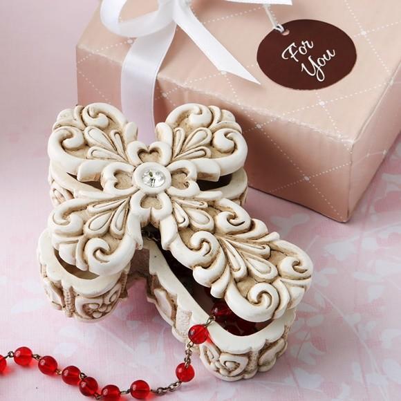 FashionCraft Baroque Design Vintage Cross-Themed 2-Piece Trinket Box