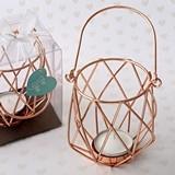 FashionCraft Geometric Design Rose Gold Metal Tealight Candle Holder