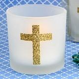 FashionCraft Gold Cross-Themed White Frosted-Glass Votive Holder