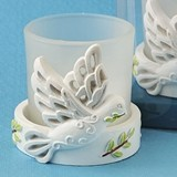 FashionCraft Elegant White Dove with Olive Branch Candle