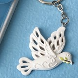 FashionCraft Elegant White Dove with Olive Branch Keychain