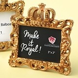 "FashionCraft ""Make it Royal"" Gold Baroque Crown-Topped Frame"