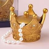 """FashionCraft """"Make it Royal"""" Gold Crown Trinket Box w/ Cover"""