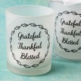 FashionCraft 'Grateful, Thankful, Blessed' Frosted Glass Candle Votive