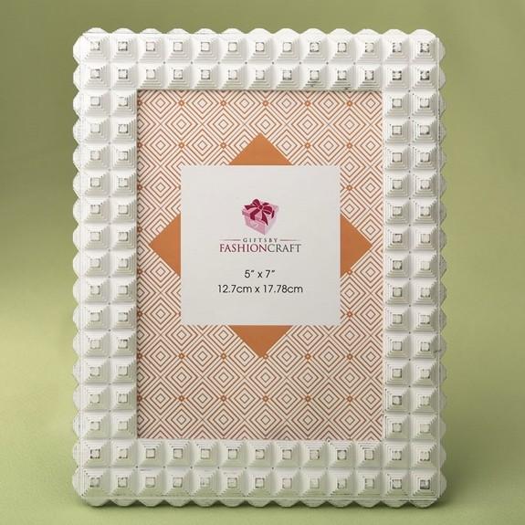 FashionCraft Brushed White Geometric Pyramid Motif 5 x 7 Frame