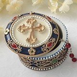 FashionCraft Raised Gold Cross Rosary Box Trinket Box